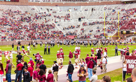 tallahassee: Tallahassee, FL - Nov. 23, 2013:  FSU Seminoles and the Idaho Vandals take the field to warm up and practice before a home football game at Doak Campbell Stadium in Tallahassee.