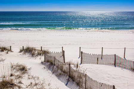 Beautiful white sandy beaches and the Gulf of Mexico at Panama City Beach Editorial