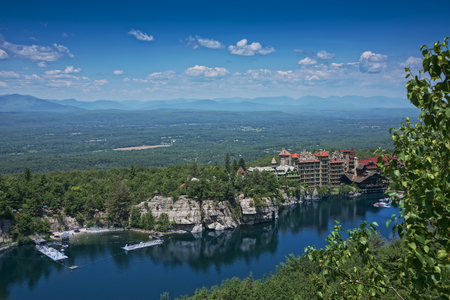Scenic view from Skytop tower of Mohonk Mountain House and the Hudson Valley in New Paltz, New York