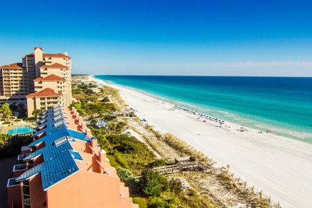 Scenic view of the coastline of Panama City Beach in Panama City, Florida