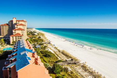 Scenic view of the coastline of Panama City Beach in Panama City, Florida