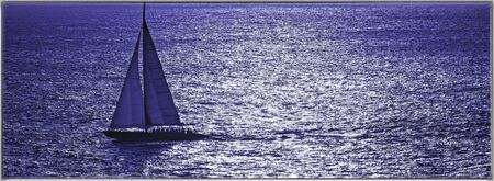 closely cropped: Closely cropped sailboat sailing on the Caribbean Sea Stock Photo