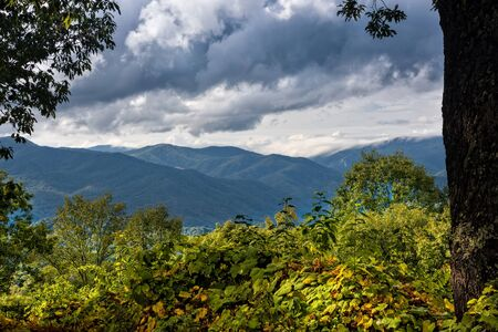 smoky mountains: Scenic view from the Blue Ridge Parkway of the Blue Ridge Mountains and the Smoky Mountains in North Carolina