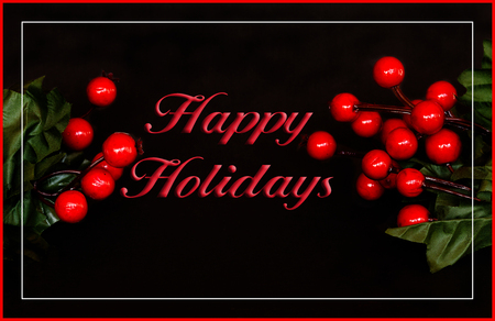 room for your text: Red holly berries on a dark background with holiday border, room for your text Stock Photo