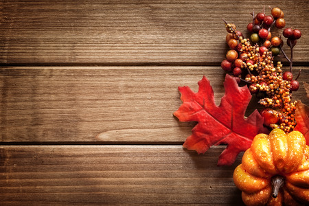Autumn decorated wooden background, room for text.