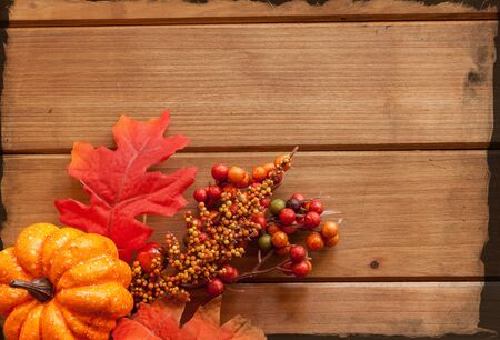 room for text: Autumn decorated wooden background, room for text.