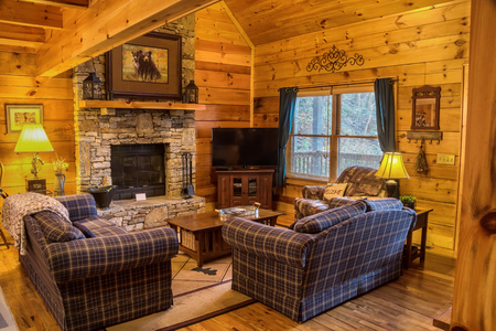 Comfortable seating area in cabin in North Carolina