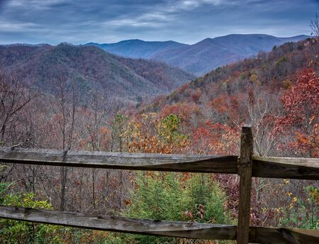 great smoky mountains national park: Scenic view of the Blue Ridge and Smoky Mountains in North Carolina