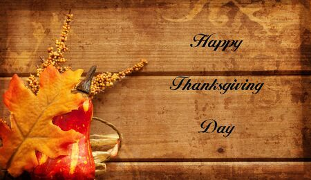 autumn arrangement: Happy Thanksgiving greeting card with text and autumn arrangement.