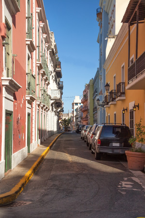residential street: Narrow residential street in San Juan, Puerto Rico