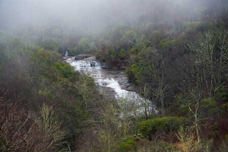 smoky mountains: Natural waterfall off the Blue Ridge Parkway in the Smoky Mountains. Stock Photo