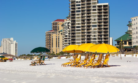 destin: Destin, FL - Oct. 25, 2014:  Miramar Beach, in Destin, Florida, a popular destination for visitors and tourists with many hotels and resorts along the coastline of Gulf of Mexico.