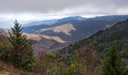 smoky mountains: Scenic view from the Blue Ridge Parkway of the Smoky Mountains and the Blue Ridge Mountains.