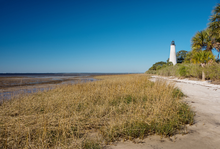 tallahassee: Coastline and the historic lighthouse at the tip of the St. Marks River in St. Marks, Florida