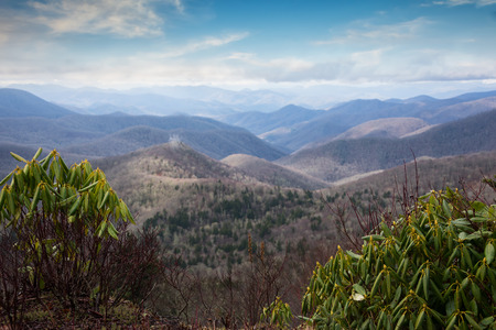 Scenic landscape view of the Blue Ridge Mountains and the Smoky Mountains in North Carolina