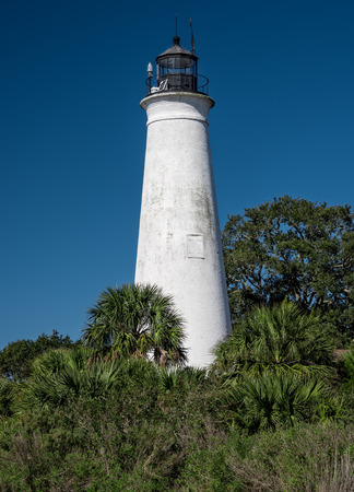 Tallahassee: Historic St. Marks Lighthouse, located at the mouth of the St. Marks River in Florida.  Part of the St. Marks National Wildlife Refuge. Stock Photo