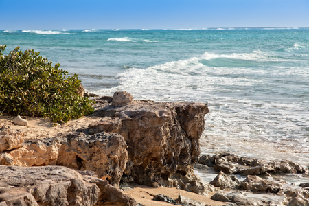 Rocky coastline in Grand Turk, an island in the Turks & Caicos islands.