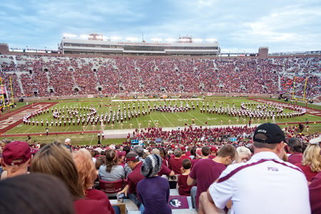 Tallahassee, FL - Nov. 16, 2013:  Marching Chiefs Band performs at Doak Campbell Stadium during halftime.  Florida State Seminoles playing against Syracuse University football team. Publikacyjne