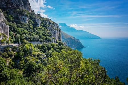 coastlines: Scenic cliffs along the Lattari Mountains of the Amalfi coastline in sourhern Italy.