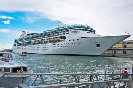 Venice, Italy - June 13, 2016:  Cruise ship anchored in the Port of Venice in Italy. The port of Venice is the eighth busiest commercial port in Italy and is one of the most important in the Mediterranean. Editorial
