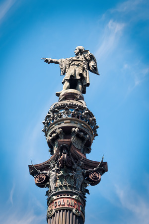 The Christopher Columbus Monument in Barcelona, Spain