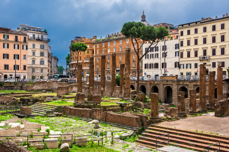Rome, Italy - June 10, 2016:  Largo di Torre Argentiina, a square that has four Republican Roman Temples and the remains of Pompeys Theatre.