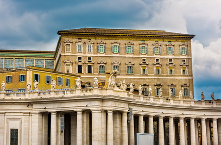 Vatican City, Vatican City State - June 10, 2016:  The Apostolic Palace, official residence of the Pope, also known as the Papal Palace. The building contains the Papal apartment and various offices of the Catholic Church. 新闻类图片