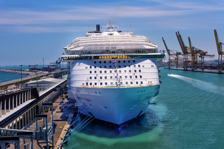 Barcelona, Spain - June 7, 2016:  Royal Caribbeans, Harmony of the Seas, is now the largest ship in the world, with a gross tonnage of 226,963. Editorial