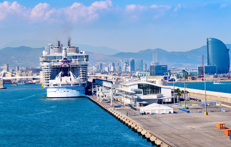 Barcelona, Spain - June 7, 2016:  Royal Caribbeans newest ship, The Harmony of the Seas, anchored in the port of Barcelona.