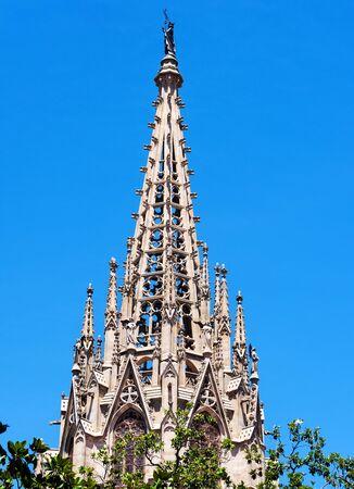church steeple: Large church steeple in Barcelona, Spain Stock Photo