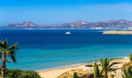 Yacht and coastline of Los Cabos, Mexico