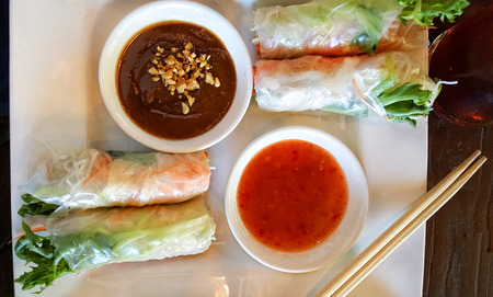 Fresh Summer Rolls with Dipping Sauce