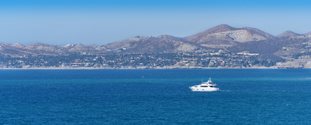Luxury yacht sailing on the Sea of Cortez in Cabo San Lucas, Mexico