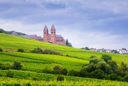 Benedictine Abbey of St. Hildegard,   and surrounding vineyards in Rudesheim am Rhein.