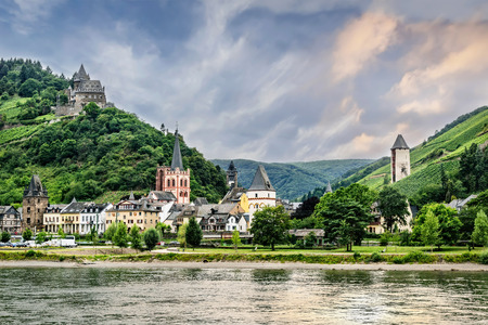 Bacharach is a small town in the Mainz-Bingen district in Rhineland-Palatinate, Germany.  Stahleck Castle is on the hilltop. Stock Photo