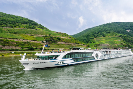 Rhine River - July 16, 2017:  Passengers aboard the Emily Bronte River Boat, one of the three brand new ships to join the Riviera Travels fleet, available exclusively to the UK market. Sajtókép