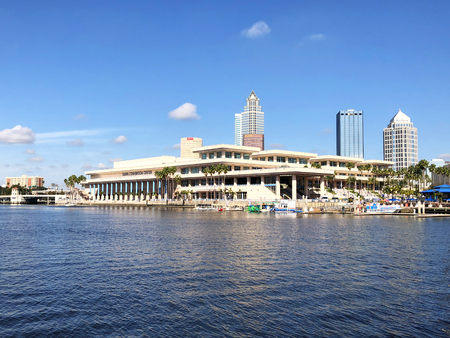 Tampa, Florida - November 22, 2017:  The Tampa Convention Center, a convention center located in downtown Tampa, at the mouth of the Hillsborough River. It has both waterfront views of Tampa Bay and views of the city's skyline. Editorial