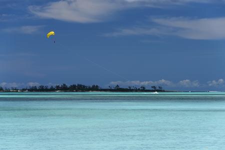Parasailing in Nassau, Bahamas on a sunny day Stock Photo