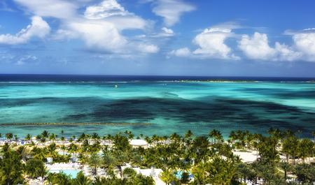 Picturesque view of the Caribbean Sea and Nassau, Bahamas Stock Photo