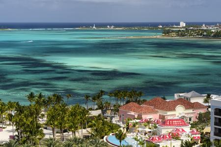 Caribbean lagoon and the white sand beaches in Nassau, Bahamas Stock Photo
