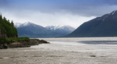 Scenic view of Alaskas rivers and mountain ranges.