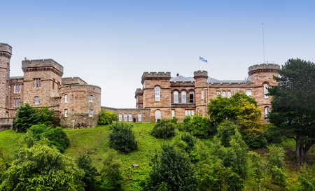 Inverness Castle, built in the year 1836, sits on a hill above the River Ness in Scotland. Stock Photo