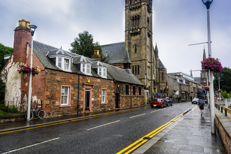 Inverness, Scotland - August 13, 2018:  Bank Street in Inverness runs along the River Ness in the capital city of the Highlands of Scotland.