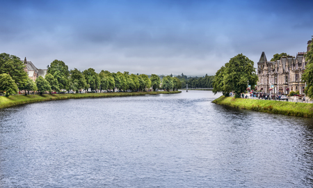 Inverness, Scotland - August 13, 2018:  The River Ness, as it runs through the city of Inverness, the cultural capital of the Scottish Highlands. Editorial