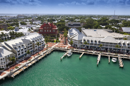 Key West, Florida - July 11, 2011:  Port of Key West filled with cruise ship passengers and tourists.