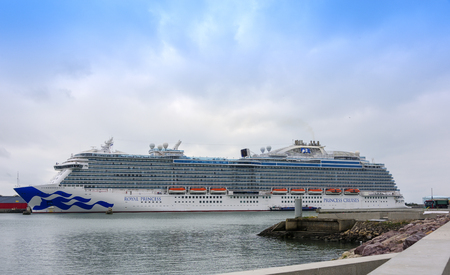 Le Havre, France - August 16, 2018:  Princess Cruise Ship, The Royal Princess, anchored in the port of Le Havre as part of a British Isles itinerary. Editorial