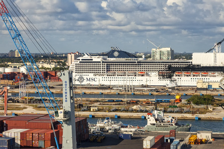 Fort Lauderdale, Florida - January 12, 2013:  Port Everglades, is a seaport in Broward County.  It is one of South Floridas foremost economic centers, as it is the gateway for both international trade and cruise vacations.