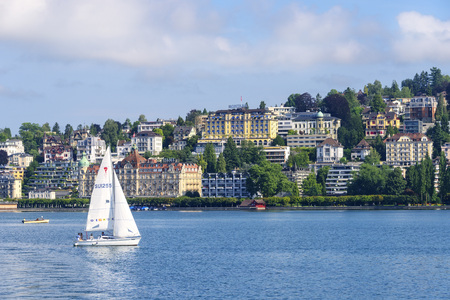 Lucerne, Switzerland - July 22, 2017:  Sailboat on Lake Lucerne, the fourth largest lake in Switzerland. Editorial