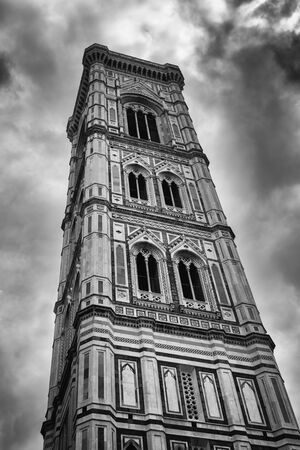 Giotto's Campanile is a free-standing campanile that is part of the complex of buildings that combine Florence Cathedral on the Piazza del Duomo in Florence, Italy. Stock Photo