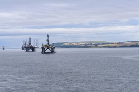 Oil rigs in the Cromarty Firth, near Inverness, Scotland